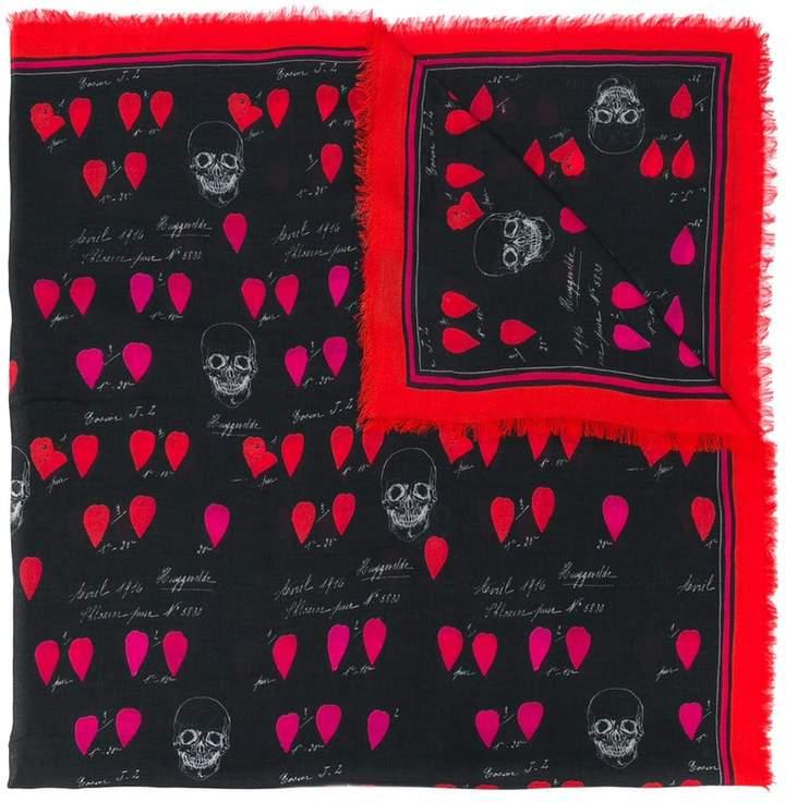 Alexander McQueen skull and petal print scarf