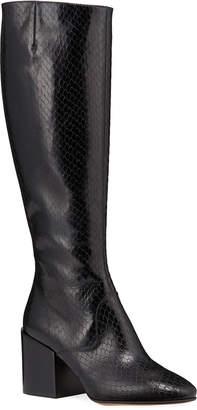 Dries Van Noten Tall Shaft Snake-Embossed Boots