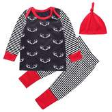 Mary ye 3PCS Baby Boys Girls Christmas Deer Long Sleeve T-shirt and Pants Outfit with Hat