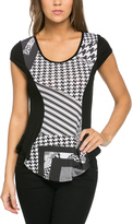 Black Geometric Color Block Cap-Sleeve Tee