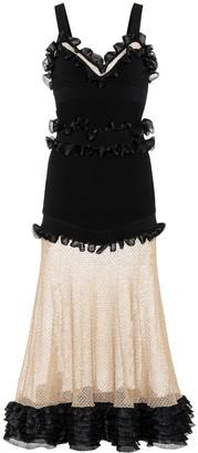 Alexander McQueen Silk-blend and mesh dress