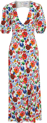 Rixo Steph Tie-back Floral-print Crepe Midi Dress