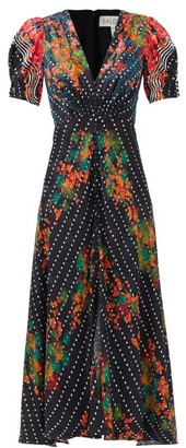 Saloni Lea Coral Blossom-print Silk-satin Dress - Black Multi