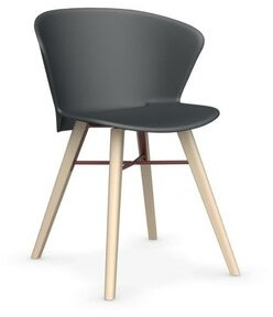 """Calligaris Bahia Mw 21.87"""" W Side Chair Frame Finish: Bleached Beech, Upholstery: Gray, Back Upholstery: Red"""