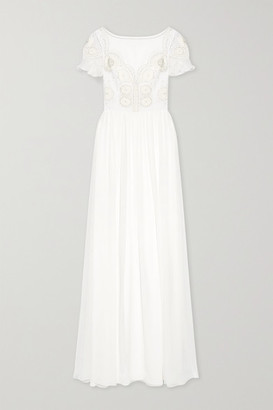 Temperley London Open-back Embellished Crocheted Tulle And Silk-chiffon Gown - White
