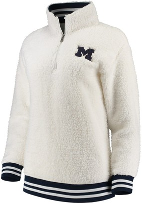Women's Cream Michigan Wolverines Varsity Banded Sherpa Quarter-Zip Pullover Jacket
