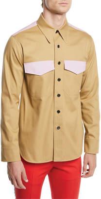 Calvin Klein Men's Contrast-Trim Twill Shirt