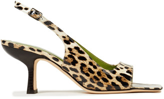 BY FAR Lopez Leopard-print Glossed-leather Slingback Sandals