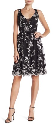 Marina Embroidered Fit & Flare Mesh Dress