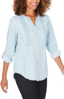 Foxcroft Kira Pleated Chambray Shirt