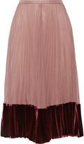 Valentino Velvet-paneled pleated silk crepe de chine midi skirt