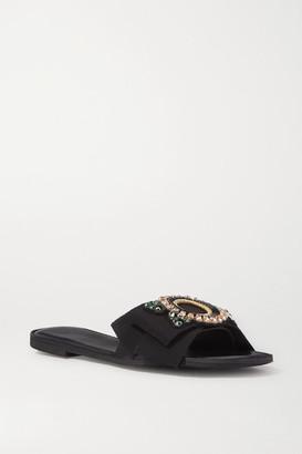 Dries Van Noten Embellished Grosgrain And Leather Slides - Black