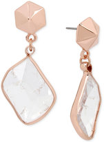 Kenneth Cole New York Rose Gold-Tone Crackled Crystal Drop Earrings