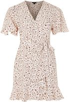 Topshop Daisy Print Ruffle Tea Dress