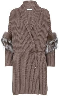 Fabiana Filippi Wool Belted Fur Trim Cardigan