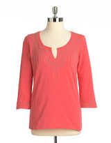 Lucky Brand Embellished Three-Quarter Sleeved Tunic Top
