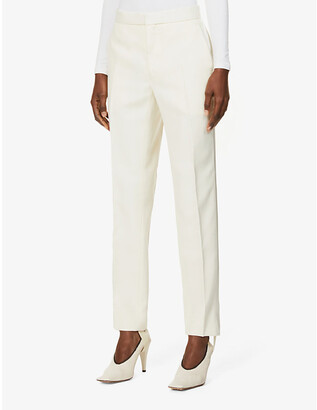 Wardrobe NYC Tapered high-rise wool and silk tuxedo trousers