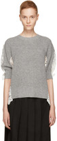 Sacai Grey & Off-White Chemical Floral Lace Sweater