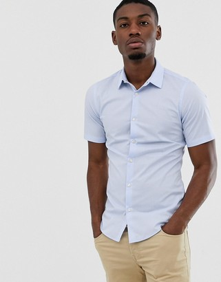 French Connection plain stretch short sleeve shirt-Blue