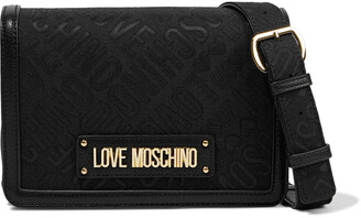 Love Moschino Jacquard And Faux Textured-leather Shoulder Bag