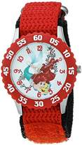 Disney Girl's 'Ariel' Quartz Stainless Steel and Nylon Casual Watch, Color:Red (Model: WDS000048)