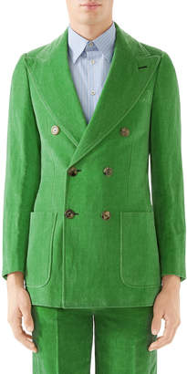 Gucci Men's Double-Breasted Velvet Jacket
