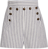 Zimmermann Zephyr Striped Cotton And Linen-blend Shorts - Blue