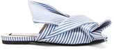 No.21 No. 21 Bow Flat in Blue,Stripes.