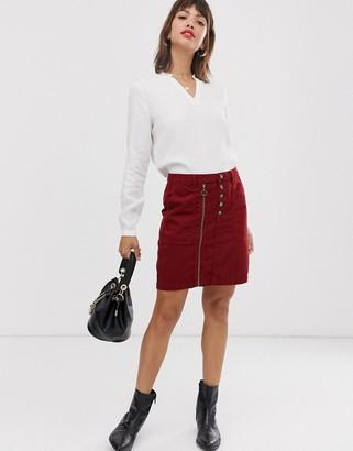 Esprit button detail denim skirt with zip in burgundy-Brown