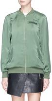 Equipment 'Kendrix' slogan patch silk satin bomber jacket
