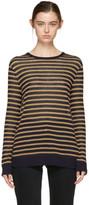 Alexander Wang Navy & Tan Long Sleeve Striped T-Shirt