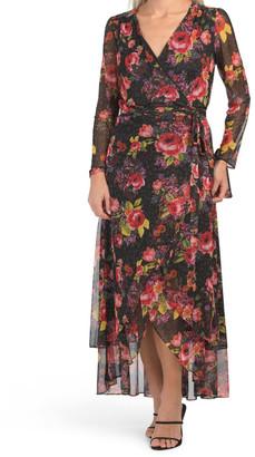 Floral Mesh Wrap Maxi Dress