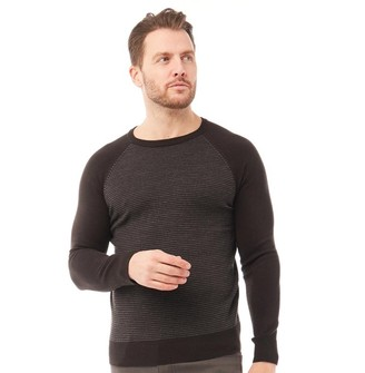 Onfire Mens Striped Crew Neck Sweater Charcoal/Grey Marl