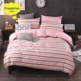BuLuTu Bedding Stripes Twin Duvet Cover Sets Pink 3 Pieces Cotton Home Textiles Lightweight Pink Bedding Collection Sets For Girls Zipper Closure With 4 Corner Ties