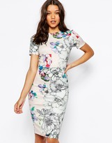 Asos Floral T-Shirt Scuba Bodycon Midi Dress