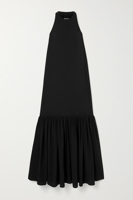 Tibi Tiered Silk Crepe De Chine Maxi Dress - Black