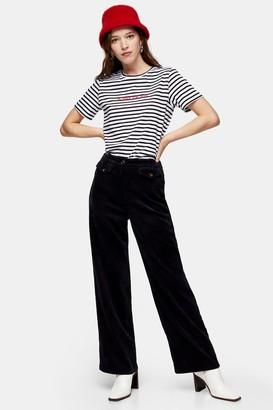 Topshop Navy Wide Leg Corduroy Pants