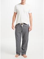 John Lewis Brushed Twill Check Lounge Pants, Blue/Grey