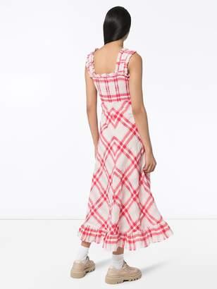 Ganni Checked Seersucker Maxi Dress Shopstyle