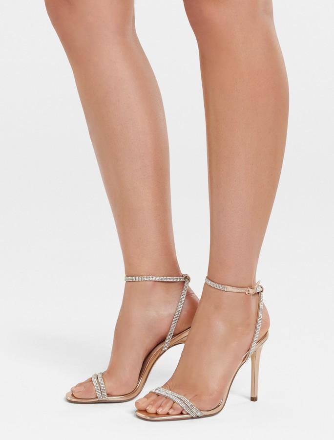 Forever New Anna Diamante Strap Heel - Rose Gold - 36