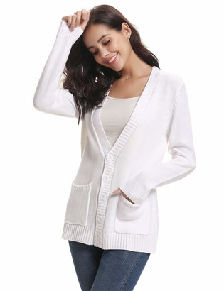 Abollria Cardigans for Women Lightweight Long Sleeve Button Down Chunky Cable Knitted Sweater Jumper Cardigan with Pockets White