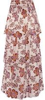 Tory Burch Indie Tiered Printed Silk-georgette Maxi Skirt - US0