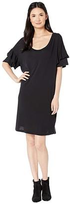 Current/Elliott Ruffle Roadie Dress (Washed Black) Women's Clothing