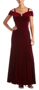 R & M Richards Off-The-Shoulder Velvet Gown
