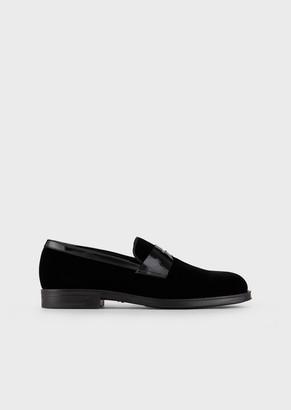 Giorgio Armani Velvet Loafers With Patent-Leather Saddle