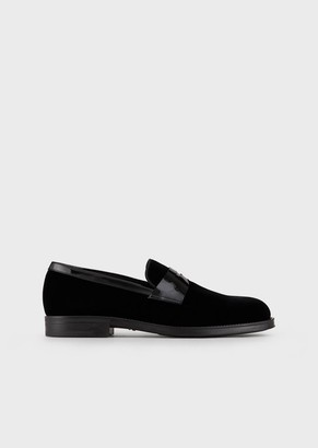 Giorgio Armani Velvet Loafers With Patent Leather Saddle