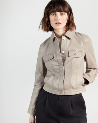 Ted Baker Buttoned Biker Leather Jacket
