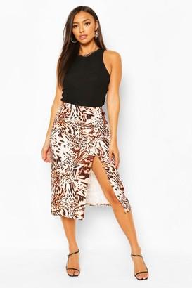 boohoo Animal Print Side Split Midi Skirt
