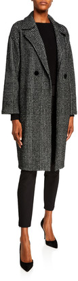 Harris Wharf London Dropped Shoulder Coat in Sparkly Prince Of Wales