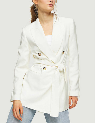 Topshop Belted double-breasted woven blazer